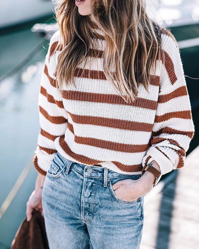 Stripes denim jeans summer style fashion fall spring hair