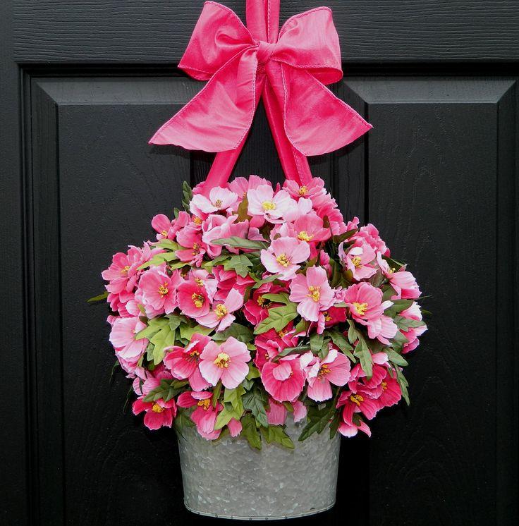 Spring  Wreath - Front Door Wreath - Galvanized Bucket Wreath. $69.00, via Etsy.