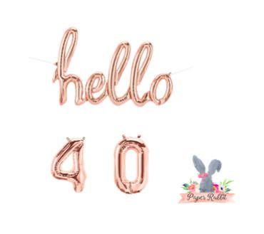 Hello 40 Rose Gold Script Balloon. Hello Balloon. 40TH Birthday Party. Birthday Party Decorations.Rose Gold Balloon.Hello 40 Balloon Banner by PaperRabbit87 on Etsy