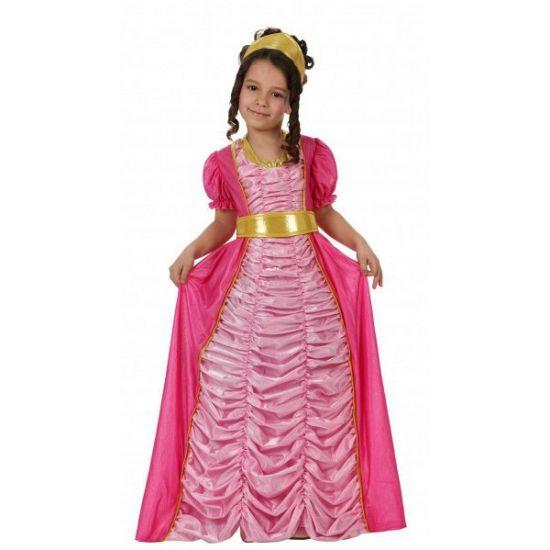 Roze prinsessen jurk voor kinderen. Lange roze prinsessen jurk met gesmokte afwerking. De achterzijde is donkerroze. De gouden ceintuur en gouden hoofdband worden meegeleverd met de prinsessenjurk.