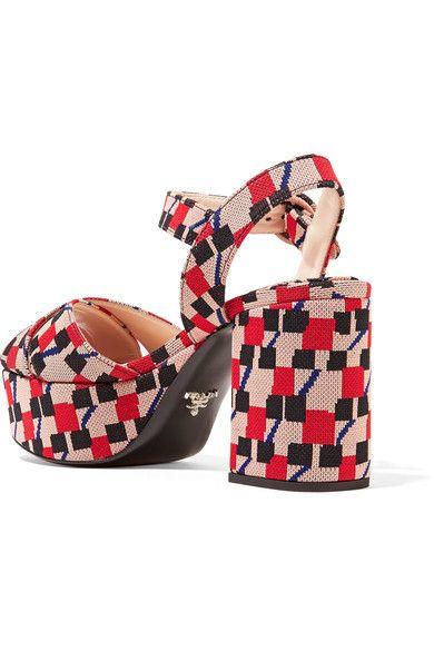 Prada - Jacquard Platform Sandals - Blush - IT