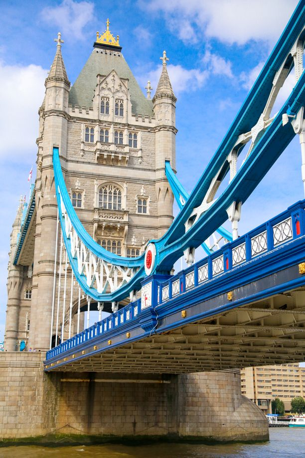 London's Tower Bridge uses electric power today, but from 1894-1976, the bridge was raised through pressurized water stored in several hydraulic accumulators. The onsite exhibit allows you to walk across the two upper level walkways as well as through the original engine room. As for the color scheme, it was originally painted a greenish-blue, but in 1977, the Tower Bridge was painted red, white and blue for Queen Elizabeth II's... Discovered by Kate Stella at Tower Bridge, London, England