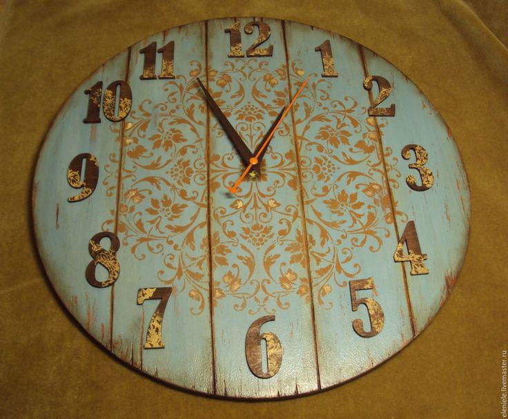 Купить Большие часы Кантри 40 см - голубой, серо-голубой, часы кантри