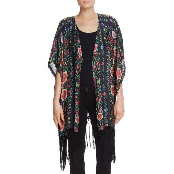 Johnny Was Silk Fringe Kimono (4,830 MXN) ❤ liked on Polyvore featuring intimates, robes, multi, silk kimono robe, fringe kimono, silk kimono, floral robe and floral kimono robe