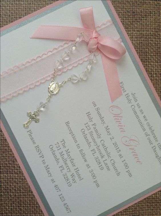 Invitaciones bautizo: fotos ideas para imprimir - Invitación con lazo y rosario