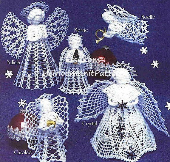 6 Angels Crochet Pattern Tree Top Angel Standing Angel Etsy Crochet Angel Pattern Crochet Angels Christmas Angels