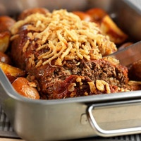 Onion-Crusted Meat Loaf with Roasted Potatoes....