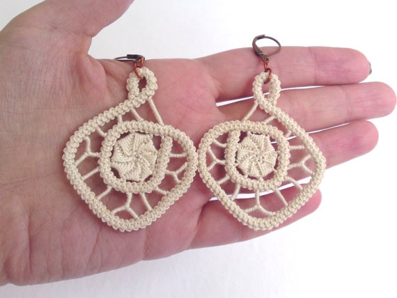 Spiral romanian point lace earrings for brides or by TinyOrchids