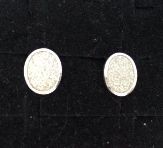 Sterling silver oval glittery post earrings. by ThreeBearsBrown