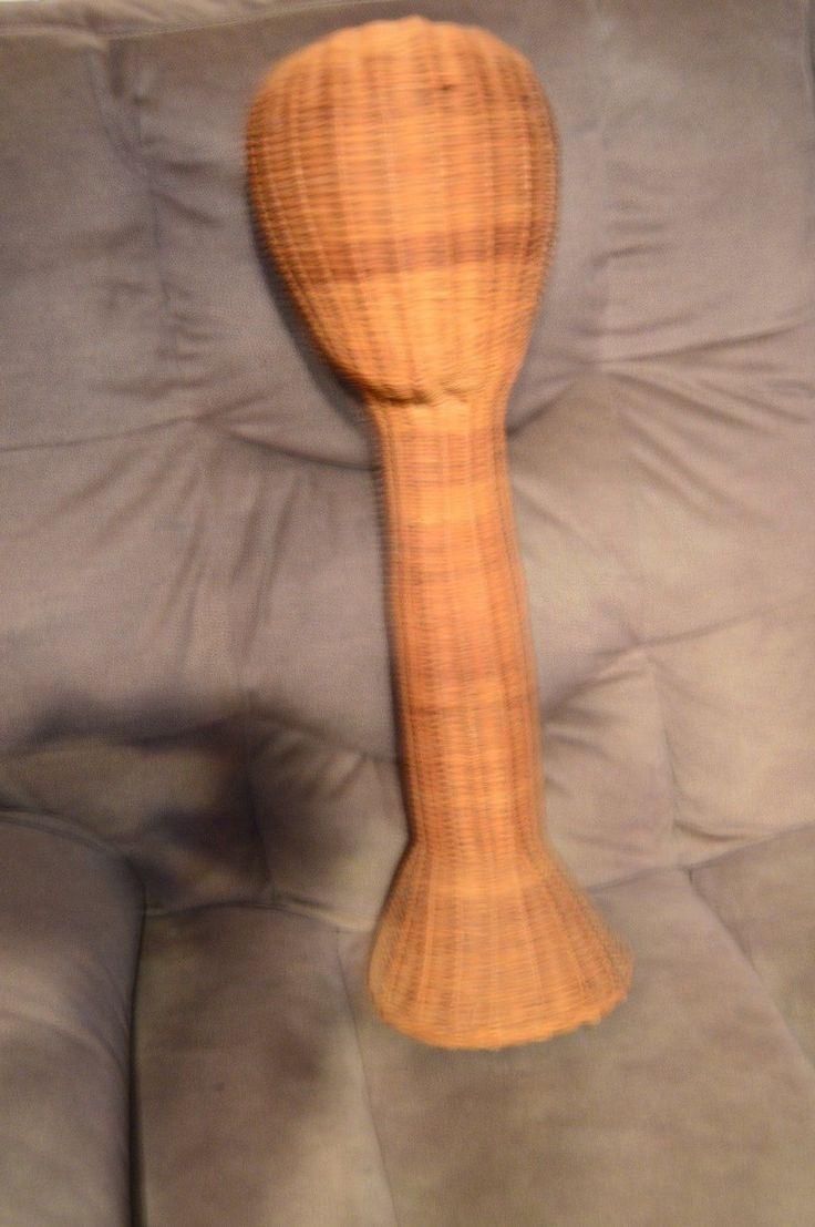 "Long Neck 24"" Tall Wicker Rattan Mannequin Head Hats Scarfs Vtg Store Display | eBay"