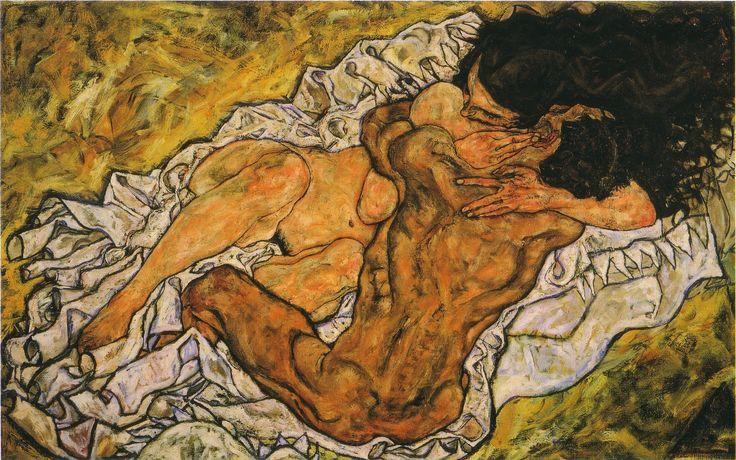 Egon Schiele; Gli amanti (L'abbraccio); 1917; olio su tela; Österreichische Galerie, Vienna.