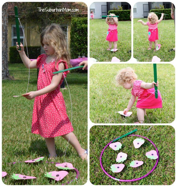 Fishing for strawberries in the berry patch:  Strawberry Shortcake Birthday Party Deserts, Printables and Ideas