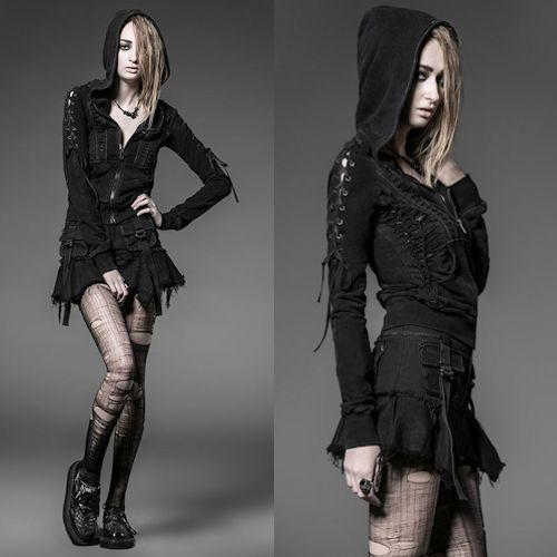 Black Alternative Steam Punk Emo Fashion Mini Skirt Skorts Clothing SKU-11406291