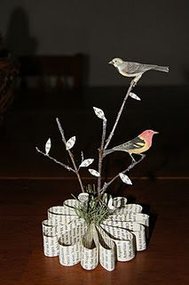 spring decor with birds from bird books
