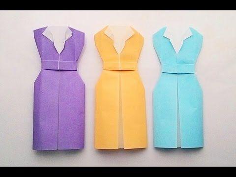 Origami office dress...พับชุดทำงาน... - YouTube