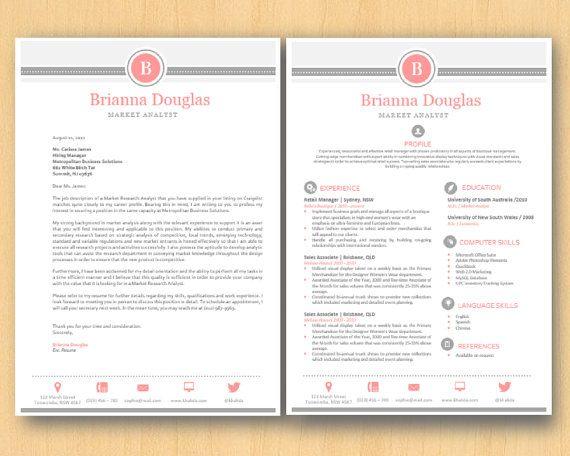 Rose Grey Modern Elegant Microsoft Word Printable by Inkpower, $15.00