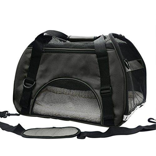 Pet Cuisine Breathable Soft-sided Pet Carrier, Cats Dogs Travel Crate Tote Portable Handbag Shoulder Bag Outdoor Black M