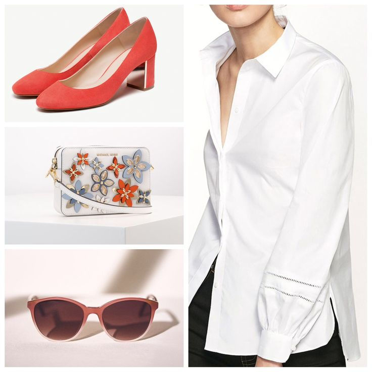 Coral Suede high-heel shoes & Shirt with lace and grosgrain (massimodutti.com) Flowers Pouches Bag Leather Optic White (michaelkors.com)