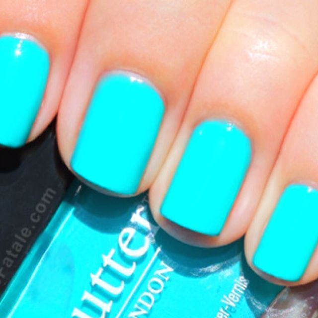 Vibrant Turquoise Nails Via Butter Nail Polish