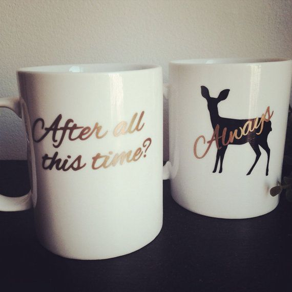 Set of 2 mugs. After all this time? Always. Is done in high quality outdoor grade vinyl. *mugs may differ slightly from ones pictured (but will