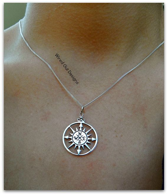 Sterling Silver Compass Rose Necklace by wiredoutdesigns on Etsy