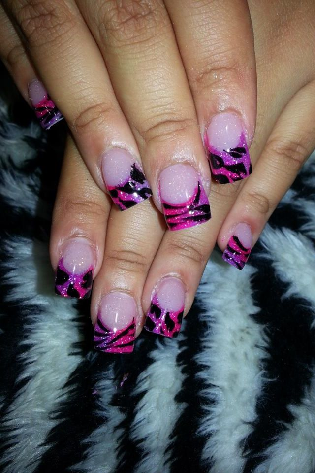 Pink And Purple Colored Acrylic Nails My Sick Obsession