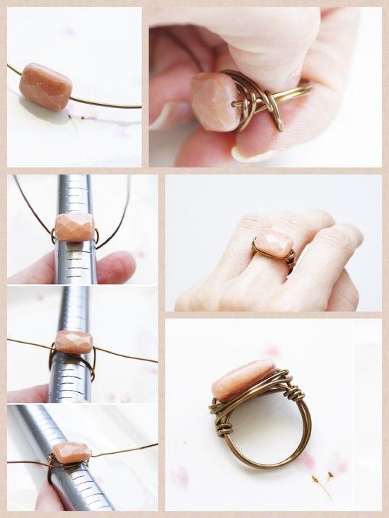 Diy Draht umwickelter Perlenring. Versuchen Sie es so schnell wie möglich mit Schmuck, um Geld zu verkaufen
