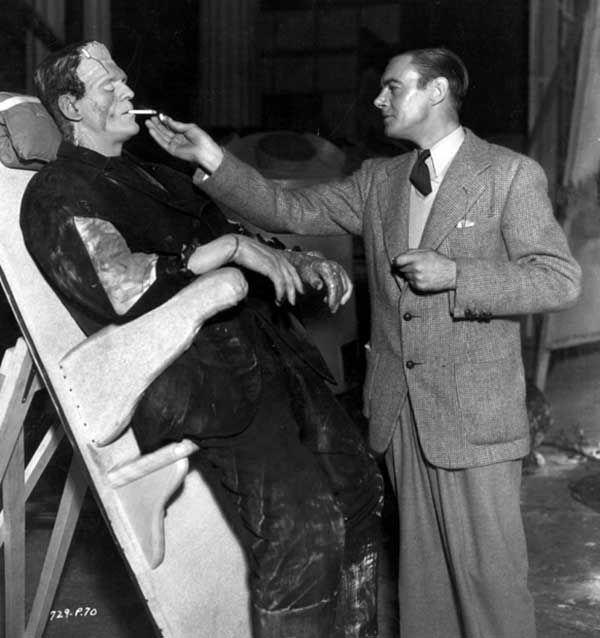 Boris Karloff and Colin Clive having a smoke break on the set of The Bride Of Frankenstein, 1935