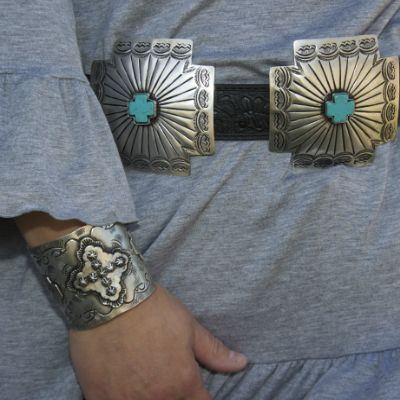 Sterling Silver and Turquoise Concho Belt & Cuff Bracelet
