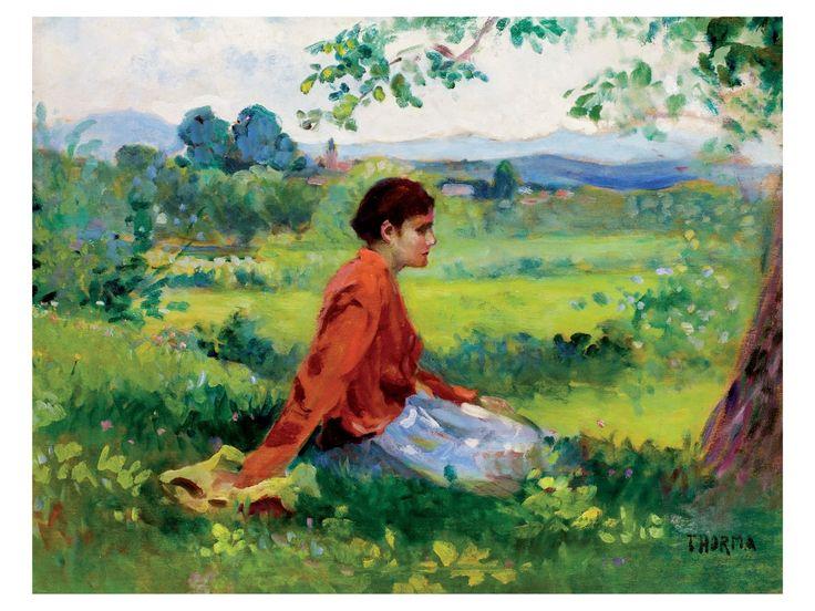 Thorma János:Fűben pihenő leány