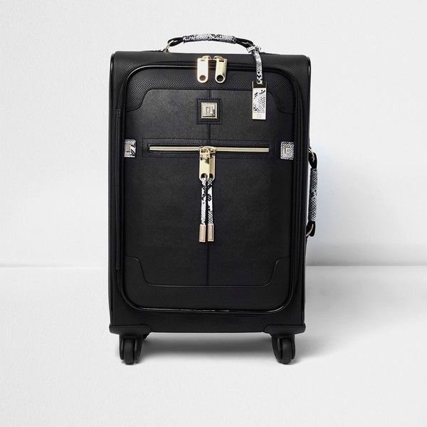 River Island Black snake print cabin suitcase ($105) ❤ liked on Polyvore featuring bags, luggage, bags / purses, black, suitcases and women