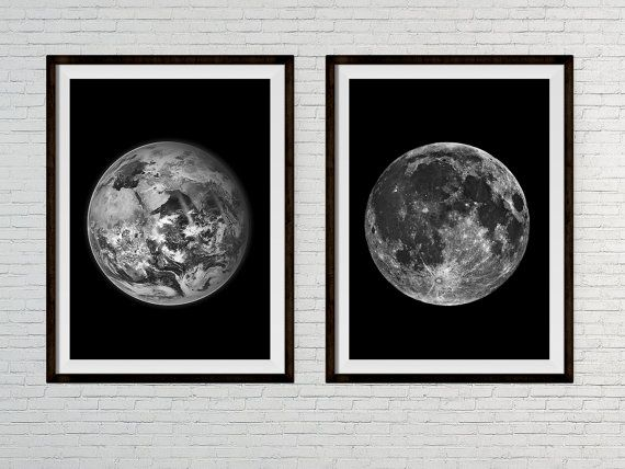 Set of two moon and earth prints black and white bedroom wall art
