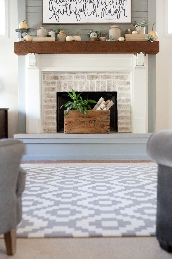 Sis, check out the fireplace.The Lettered Cottage | Living Room | Rug | Homespun Trellis | RugsUSA