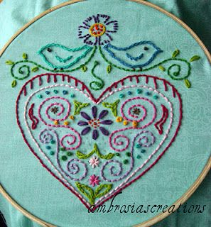 Give it a go! Full instructions given... ;)Embroidery Ideas, Ambrosia Creations, Embroidery Pattern, Muy Lindos, Link Above, Embroidery Projects, Heart Design, Crosses Stitches, Learning Embroidery