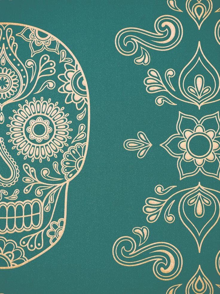 mexican sugar skull wall art | Image of Mexican Day of the Dead Sugar Skull Wallpaper - Emerald