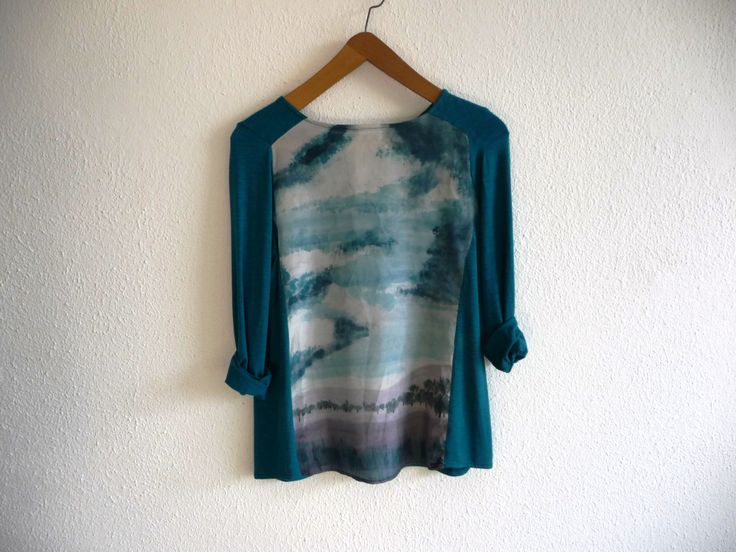 Blue turquoise handpainted tunic blouse