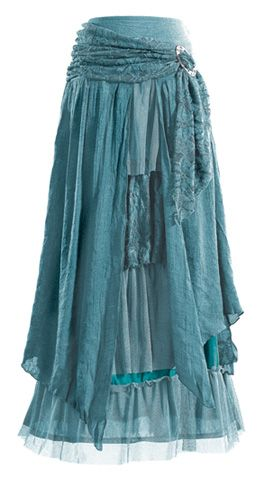 Medieval & Renaissance - Colorful Layered Skirt with Brooch