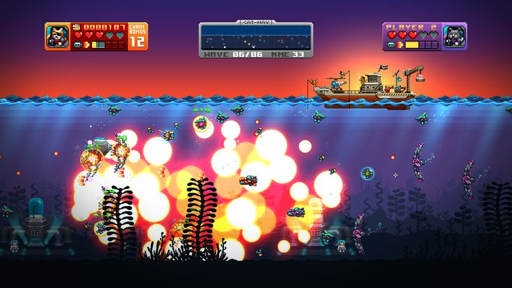 Aqua Kitty (defender styled shooter with fine pixel art and 2 player mode) http://tikipod.com/aquakitty/