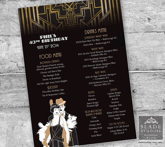 Great Gatsby Glamour 1920s Flapper Party Menu. by SladeStudios, $30.00