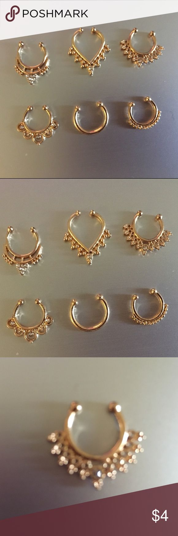 Gold septum piercings (faux) Bohemian style gold coated nose rings for the septum. Easily bendable material for different sizes and structured noses. Different designs. Sequins. Forever 21 Other
