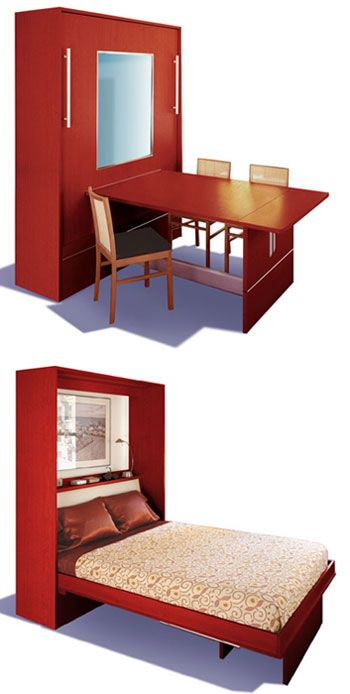 "murphy bed when folded up table ""appears"" :0  perfect for that craft/guest room"