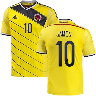 2cabedfc8 Mens Adidas Colombia James Rodriguez Authentic Yellow Home 2014 World Cup  Soccer Jersey ...