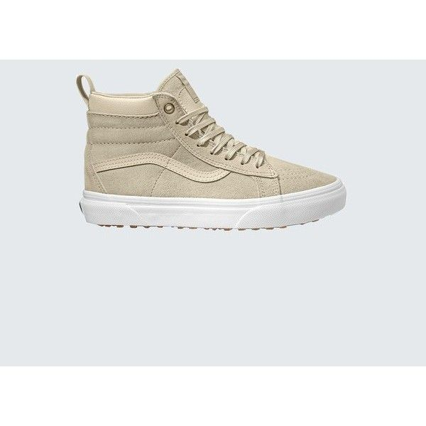 Vans Sk8Hi Mte ($90) ❤ liked on Polyvore featuring shoes, boots, ankle booties, ankle-boots, natural, vans boots, lug sole ankle boots, ankle boots, high top boots and bootie boots