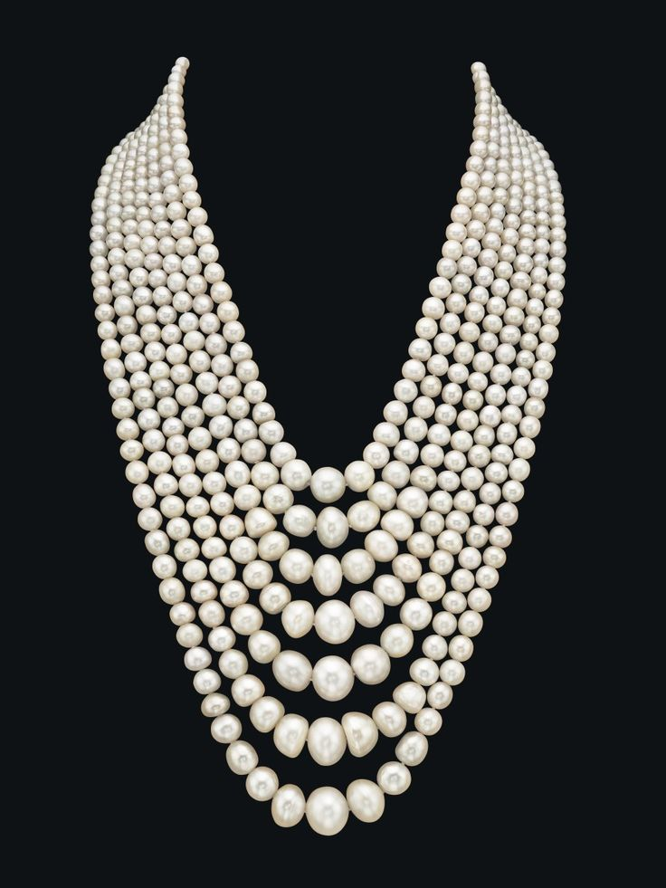 # Pearls A spectacular seven-strand natural pearl and diamond necklace made of 614 natural saltwater pearls. Photo courtesy of Christie's