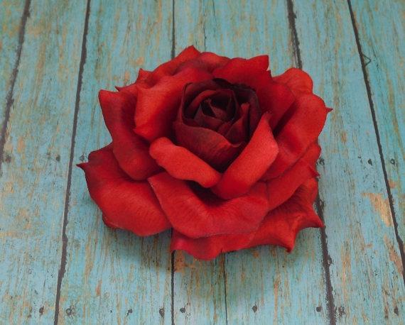 Silk Flowers  One Jumbo Fully Bloomed Red by BlissfulSilks on Etsy, $4.29