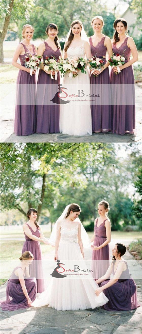 Long A-line V-neck Sleeveless Lace Chiffon Elegant Bridesmaid Dresses, Wedding Guest Dresses, WG171