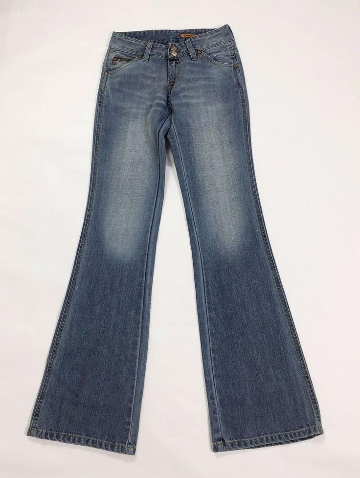 Freesoul jeans zampa super hip XS W26 40 bootcut blu usati donna strappi T2108