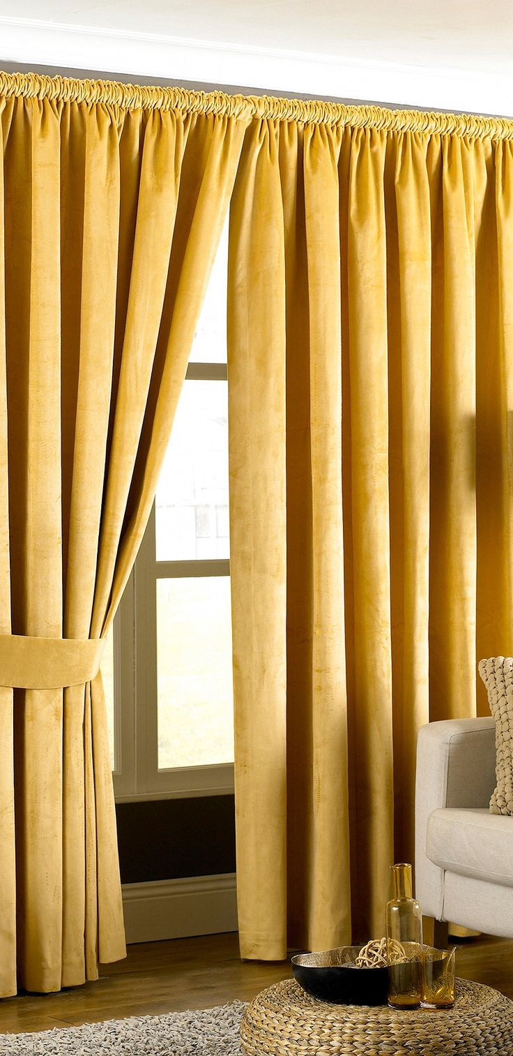 Yellow patterned curtains - Yellow Pencil Pleat Curtain Panel