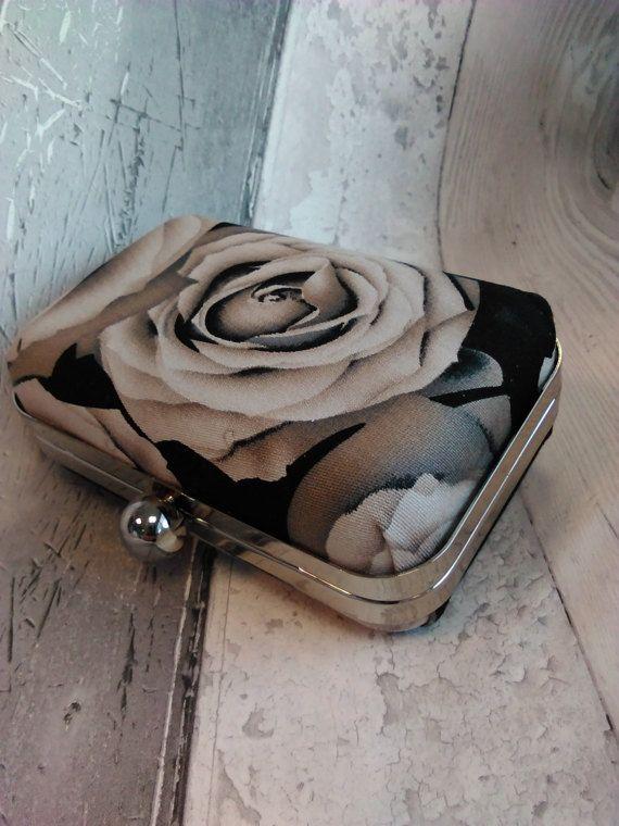 Black rose clutch bag heavy cotton fabric by KitchenFairiesLeeds