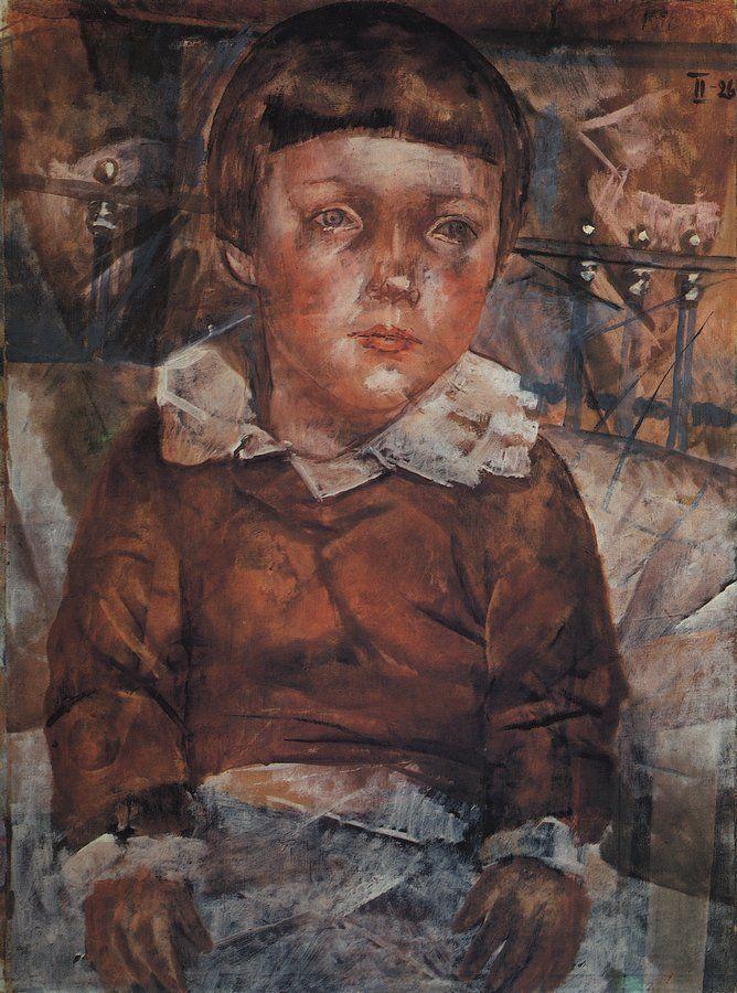 Петров-Водкин. Ленушка в кровати. 1926